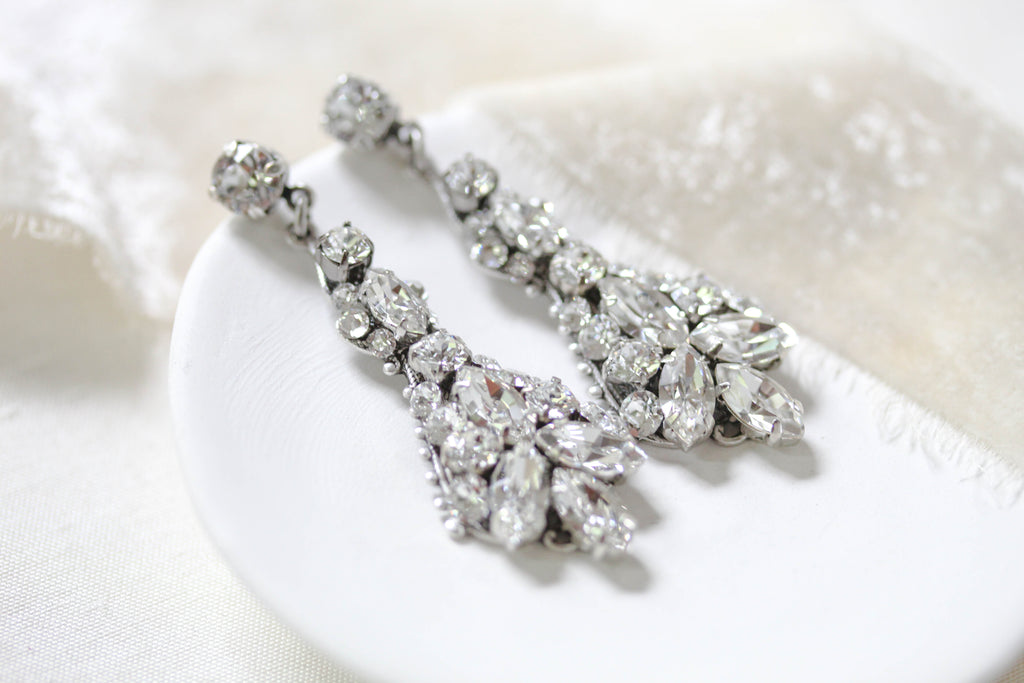 Swarovski crystal Bridal earrings, Chandelier Wedding earrings - ARIA - Treasures by Agnes