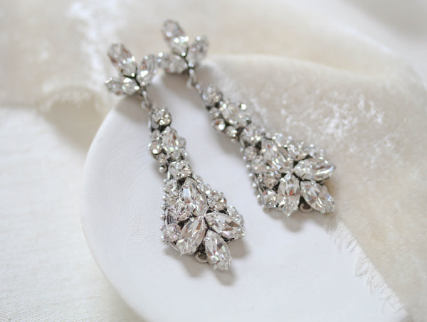 Vintage style Swarovski crystal Bridal earrings - ARIA - Treasures by Agnes
