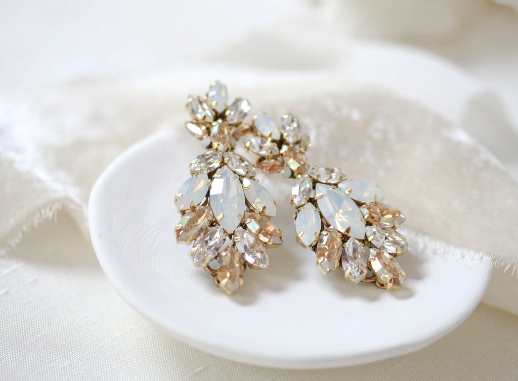 Antique gold Swarovski crystal statement stud bridal earrings - MARISSA - Treasures by Agnes