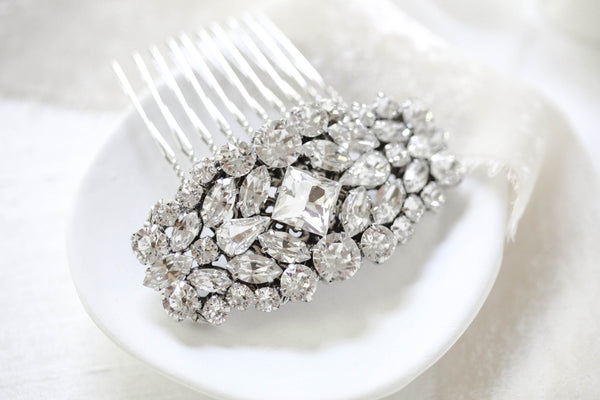 Vintage style Silver Swarovski Crystal Bridal Hair comb - JOANNA - Treasures by Agnes