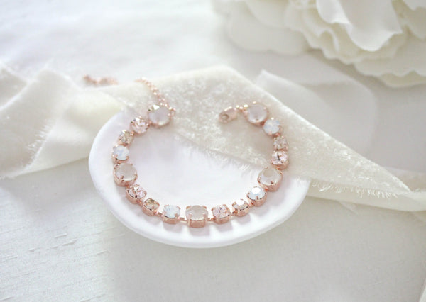 Rose gold Swarovski white opal and ivory cream bridal bracelet - JULIANNA - Treasures by Agnes