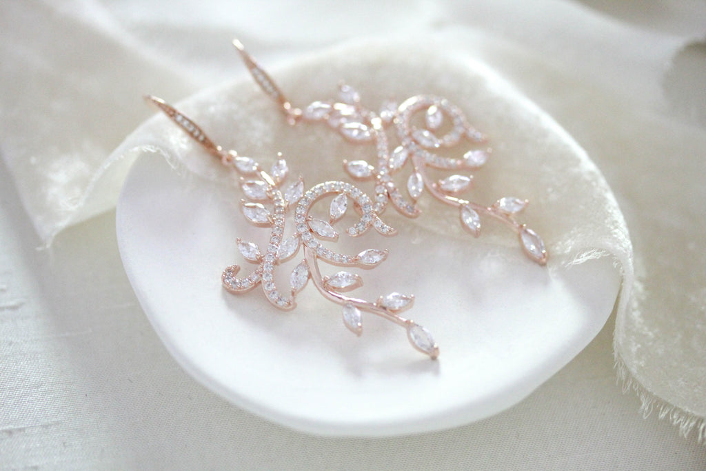 Rose gold cubic zirconia Bridal Chandelier leaf earrings - JENNA - Treasures by Agnes