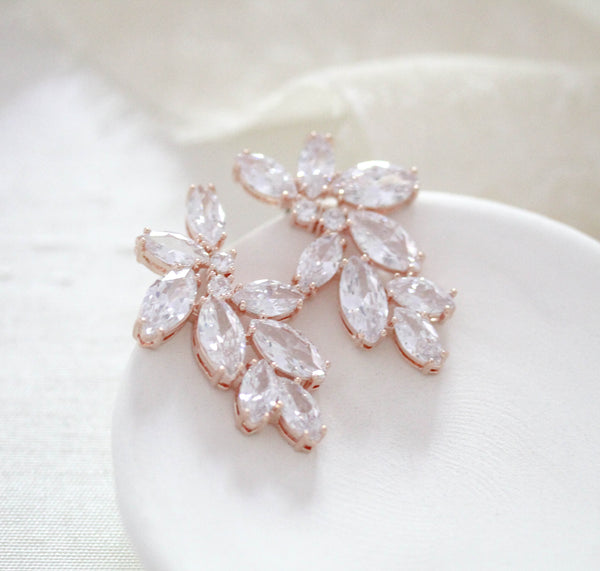 Rose gold cubic zirconia cluster stud bridal earrings- Heidi - Treasures by Agnes