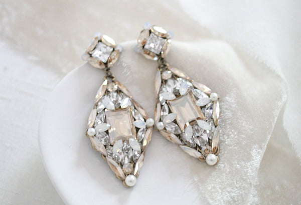 Swarovski crystal Vintage style Antique gold Bridal earrings - SAMANTHA - Treasures by Agnes