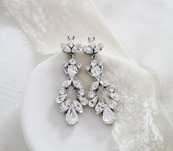 Long Chandelier Bridal earrings with Swarovski crystals - HOPE - Treasures by Agnes