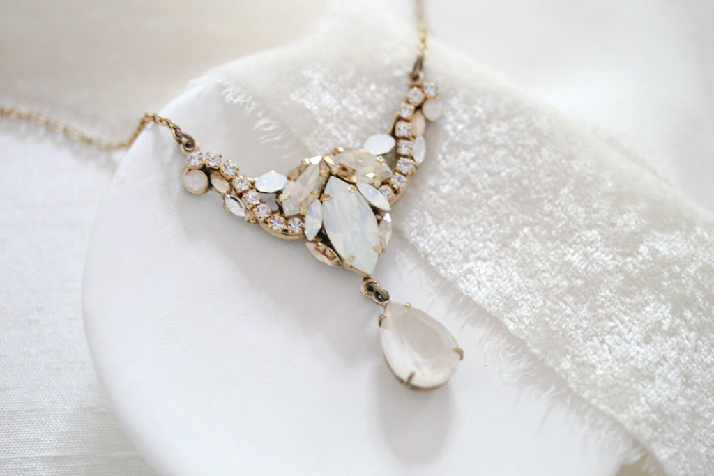 Antique gold Swarovski White opal Ivory cream Bridal necklace - SARAH - Treasures by Agnes