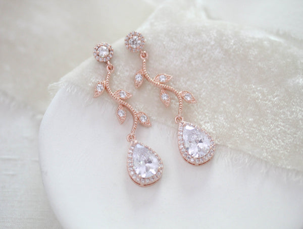 Rose gold crystal drop leaf bridal earrings - RYLIE - Treasures by Agnes