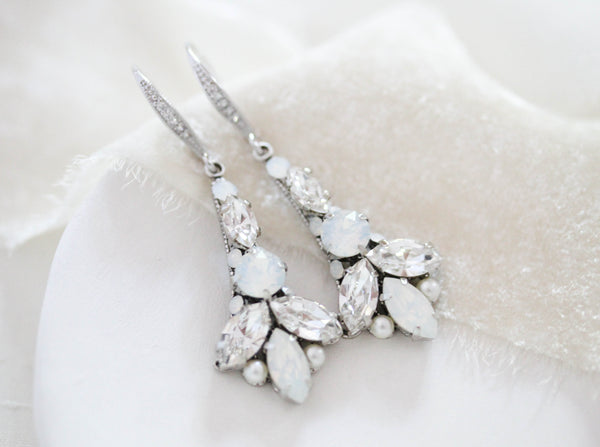Swarovski Crystal Bridal earrings with white opal accents - PALMER - Treasures by Agnes