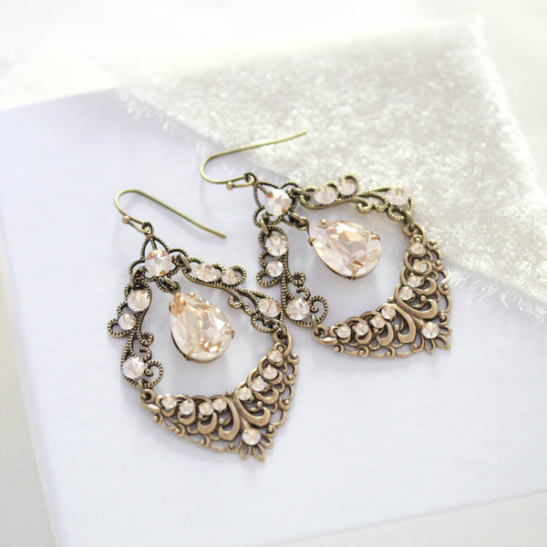 Antique gold Swarovski Crystal Chandelier Bridal earrings - Treasures by Agnes