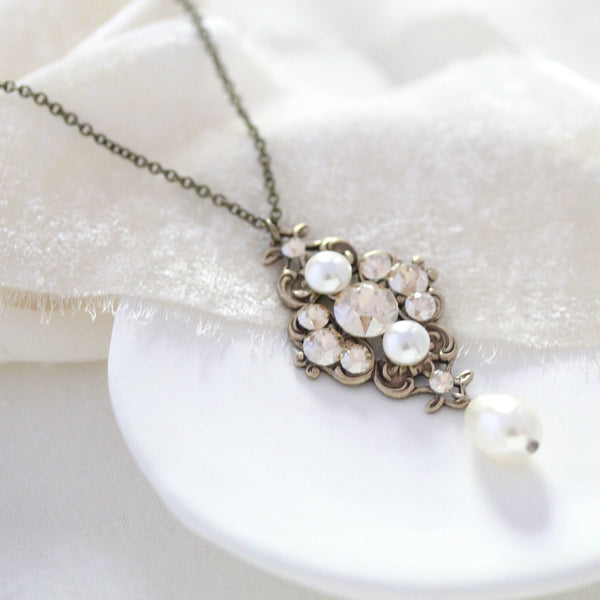 Antique gold Swarovski crystal pendant necklace for Bride or Bridesmaids - ASHLYN - Treasures by Agnes
