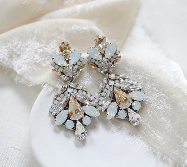 Antique gold Swarovski crystal statement bridal earrings in vintage inspired style - Kendall - Treasures by Agnes