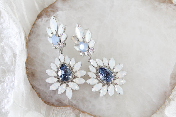 Navy Blue and White opal Swarovski Crystal Bridal earrings - ADALINE - Treasures by Agnes
