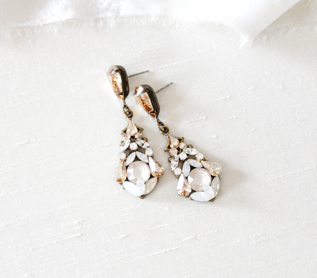 Antique gold vintage style Swarovski crystal Wedding earrings - KENNEDY - Treasures by Agnes