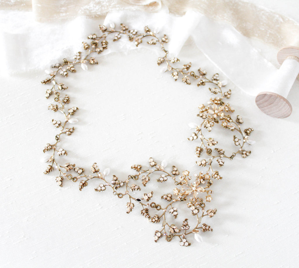 Antique gold Swarovski crystal bohemian style bridal headpiece - ABIGAIL - Treasures by Agnes