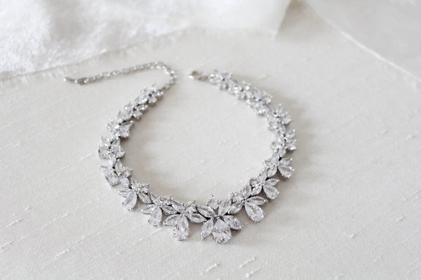 Cubic zirconia bridal bracelet clustered leaf design - AUBREE - Treasures by Agnes
