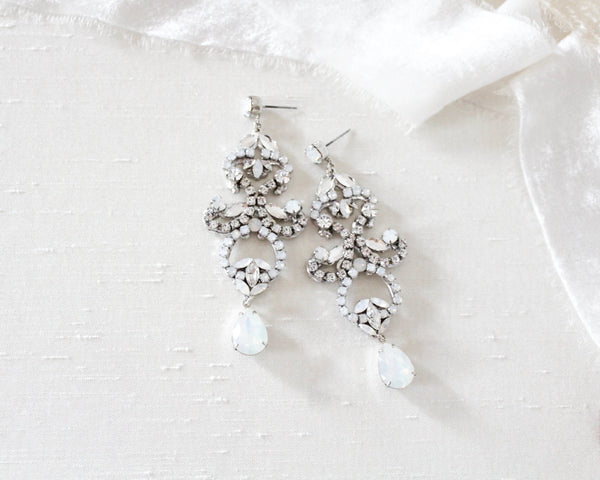 Swarovski white opal Bridal chandelier earrings - CATALINA - Treasures by Agnes