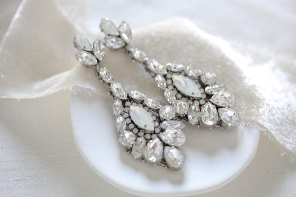 Swarovski crystal chandelier earrings for bride - STELLA