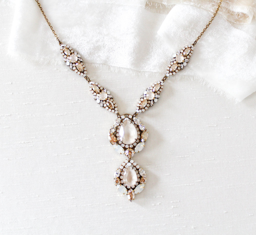 Antique gold Swarovski crystal Bridal necklace - GIANNA - Treasures by Agnes