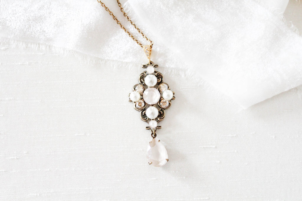 Antique gold Swarovski Ivory cream Crystal Bridal necklace - ASHLYN - Treasures by Agnes