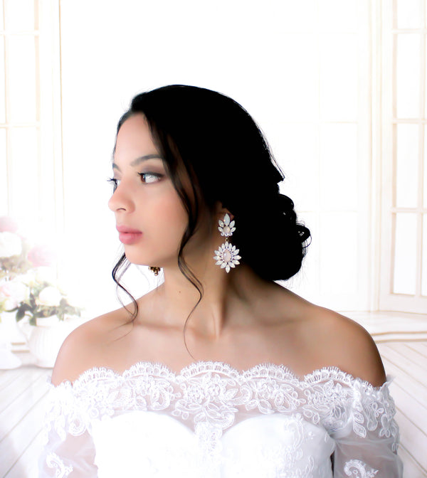 Swarovski white opal and ivory cream bridal chandelier earrings - Treasures by Agnes
