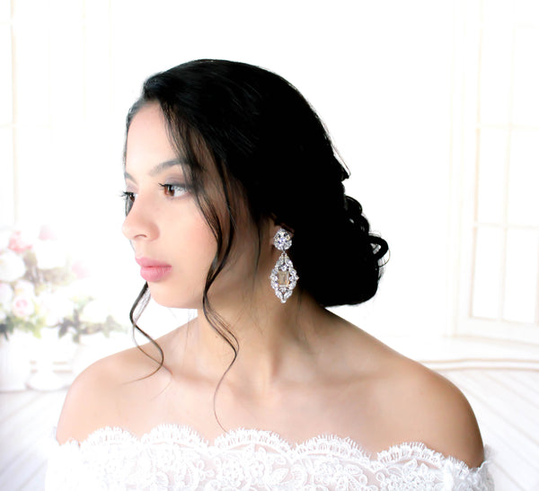 Swarovski Crystal Statement Wedding Earrings - VALENTINA - Treasures by Agnes
