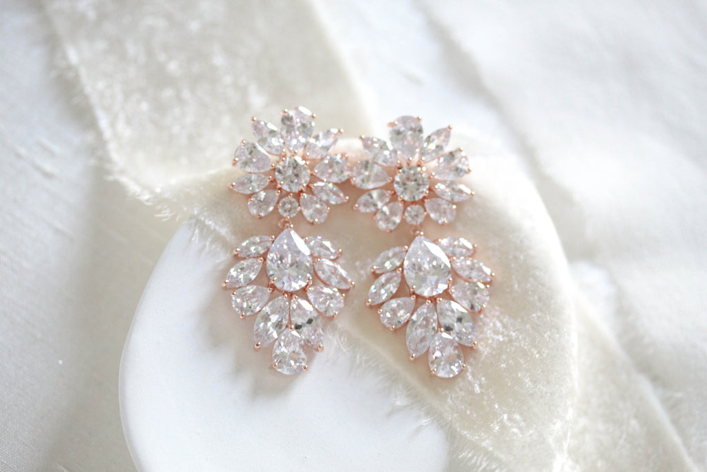 Large rose gold Bridal chandelier statement earrings - NATALIE - Treasures by Agnes