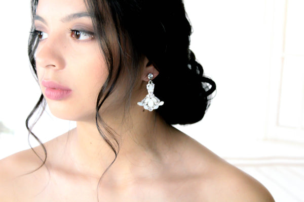 Vintage style Swarovski white opal accent Bridal earrings - TATUM - Treasures by Agnes