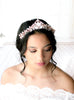 Rose gold Wedding tiara crown with Swarovski white opal crystals - CASSANDRA - Treasures by Agnes