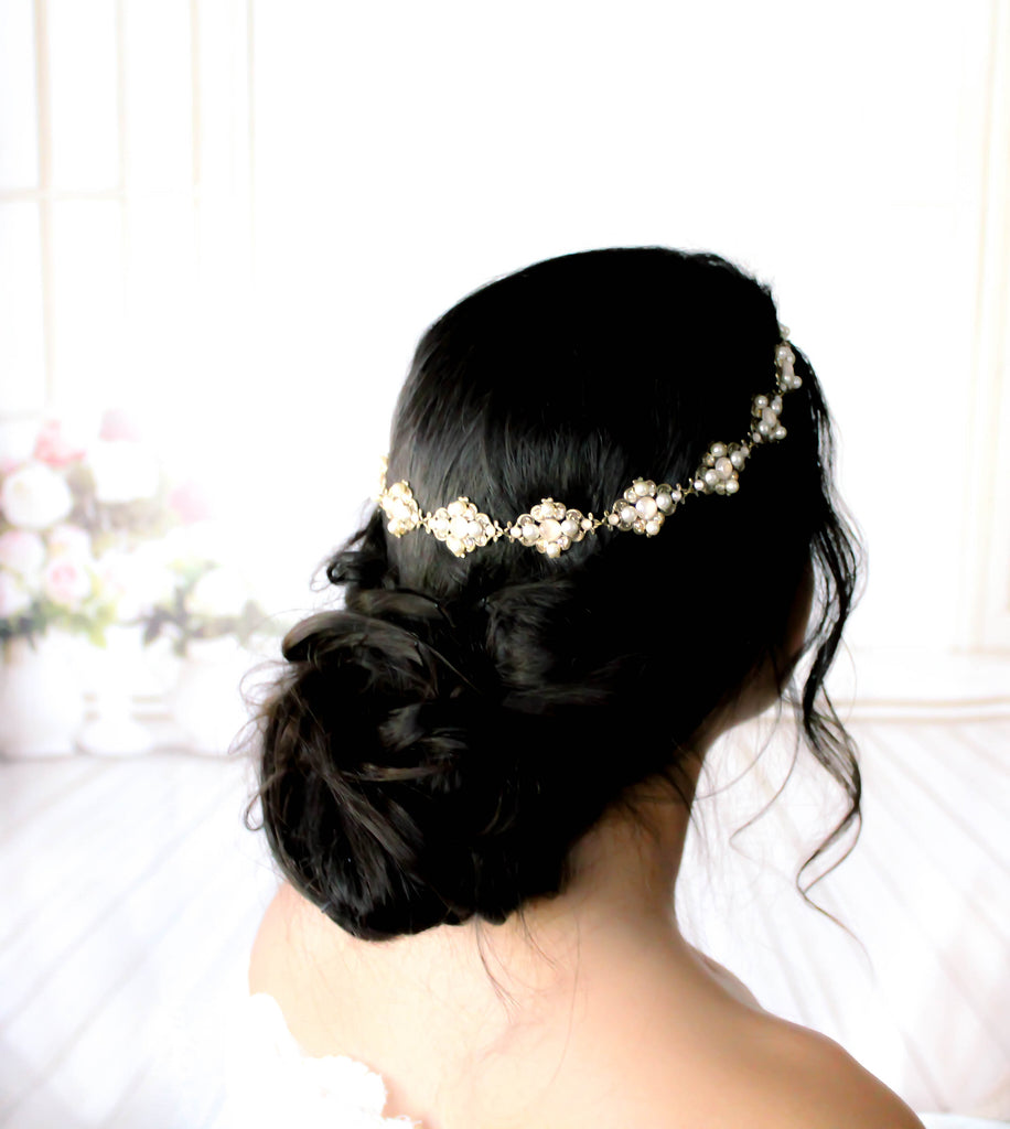 Antique gold Swarovski crystal Bridal headband - ASHLYN - Treasures by Agnes