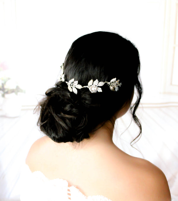Antique silver Bridal hair vine with Swarovski crystal leaves - Treasures by Agnes