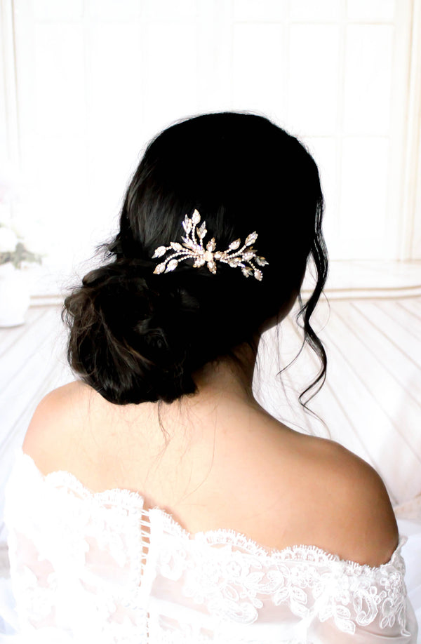 Antique gold Swarovski Crystal Bridal hair comb accessory - treasures by agnes
