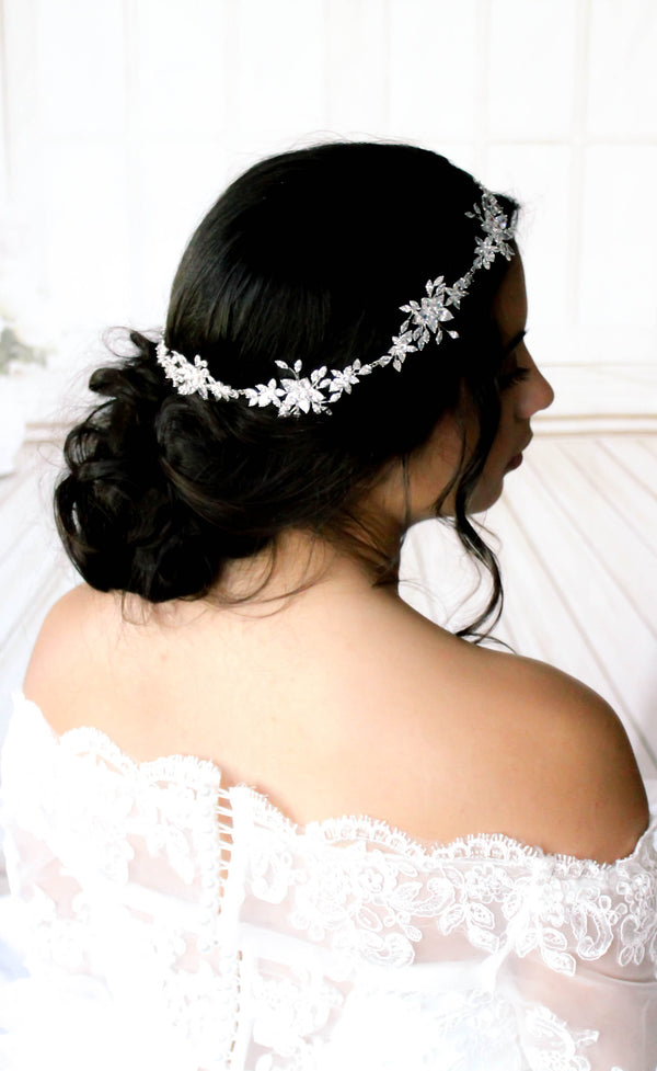 Cubic Zirconia Wedding headpiece - LILY - Treasures by Agnes