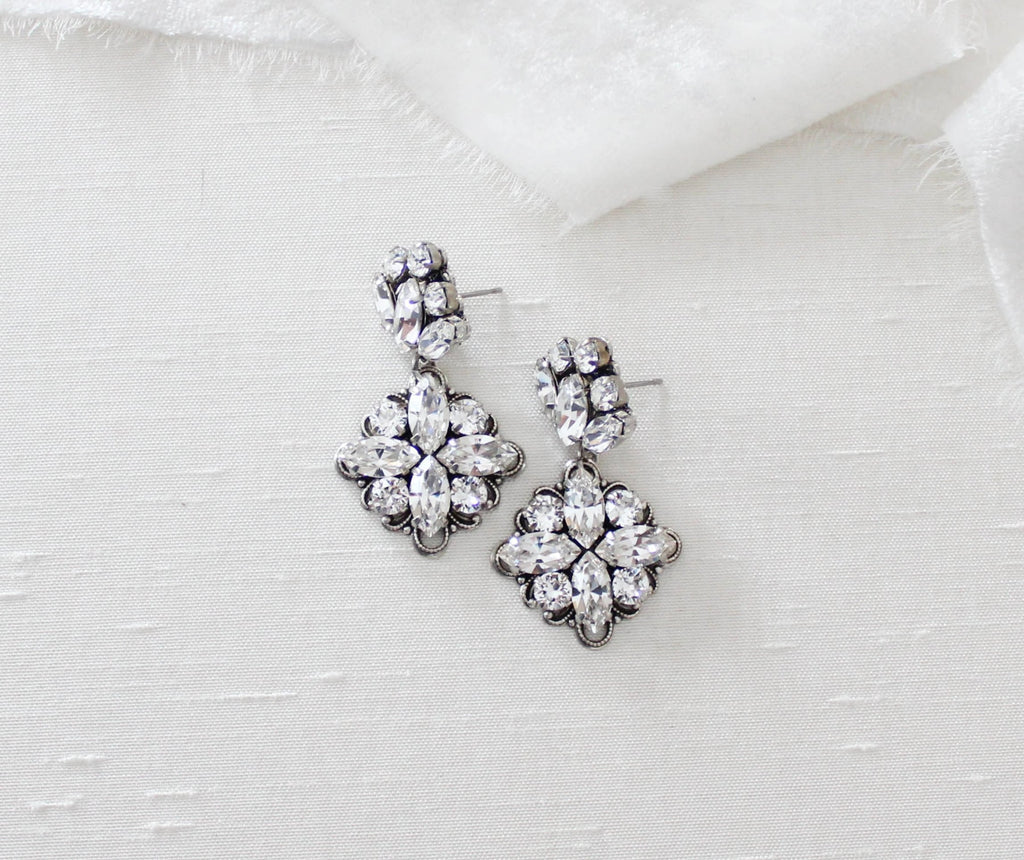 Petite Swarovski Crystal Chandelier wedding earrings - FAITH - Treasures by Agnes