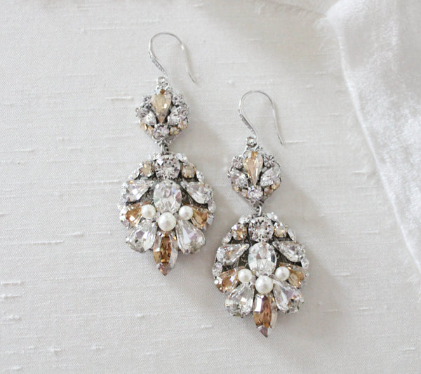 Vintage style Statement earrings for Bride with Swarovski crystals - BELLA - Treasures by Agnes