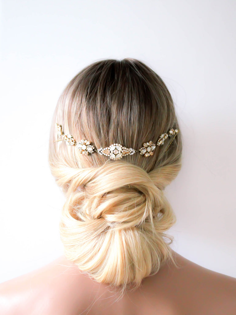 Swarovski crystal wedding hair piece for back of hair - MILA