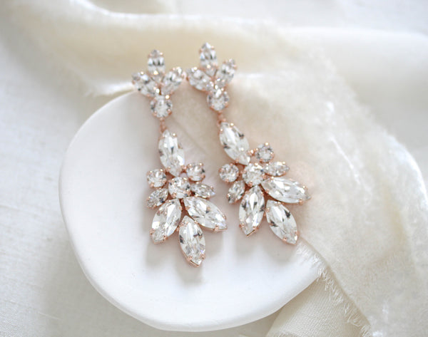 Rose gold Swarovski crystal Bridal Chandelier earrings - COLETTE - Treasures by Agnes