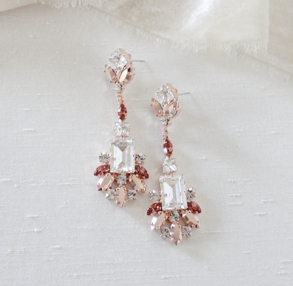 Rose gold large statement bridal earrings with burgundy Swarovski crystals - LUCIA - Treasures by Agnes