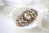 Antique gold Swarovski crystal Bridal hair comb Vintage inspired hair accessory - Treasures by Agnes