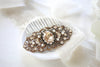 Antique gold Swarovski crystal Bridal hair comb Vintage inspired - SHAELYN