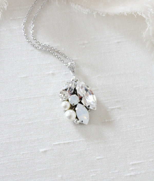 Simple Swarovski white opal Bridal necklace - BRIAR - Treasures by Agnes