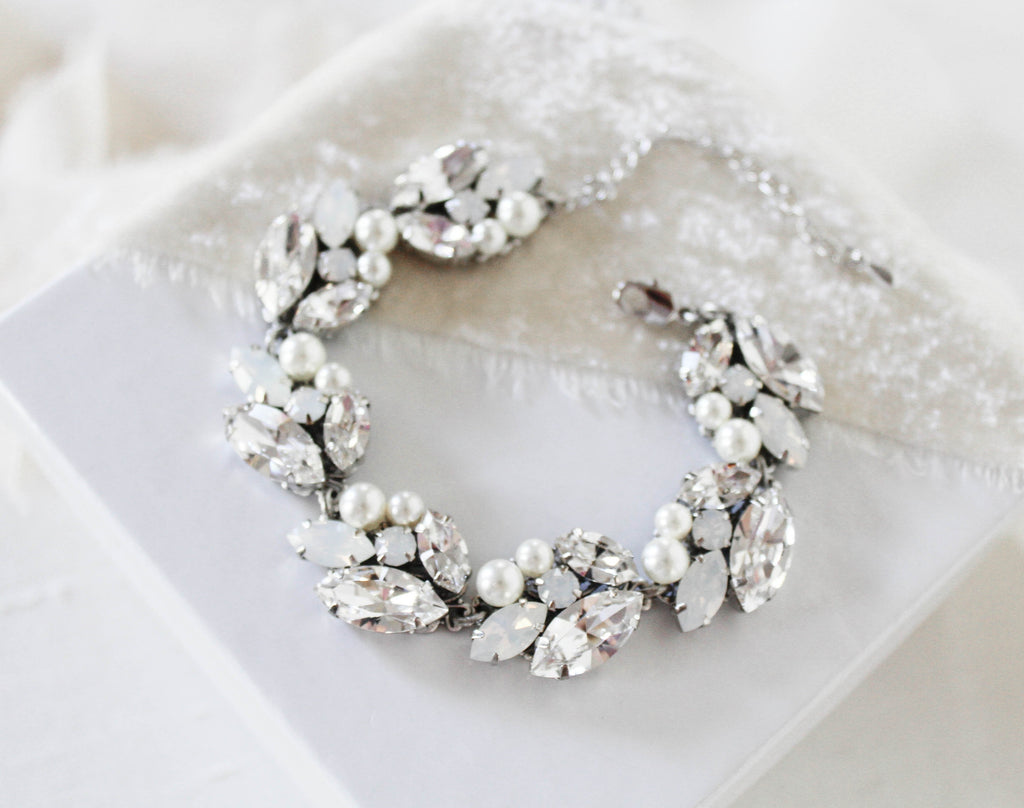 Swarovski white opal Bridal bracelet - BRIAR - Treasures by Agnes