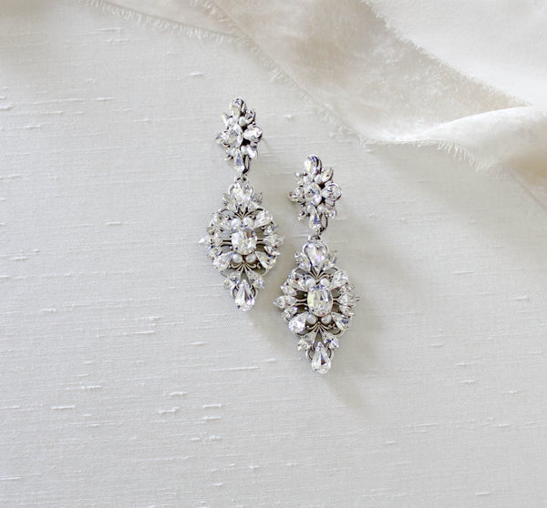 Swarovski crystal Bridal earrings with freshwater pearls - MELINDA