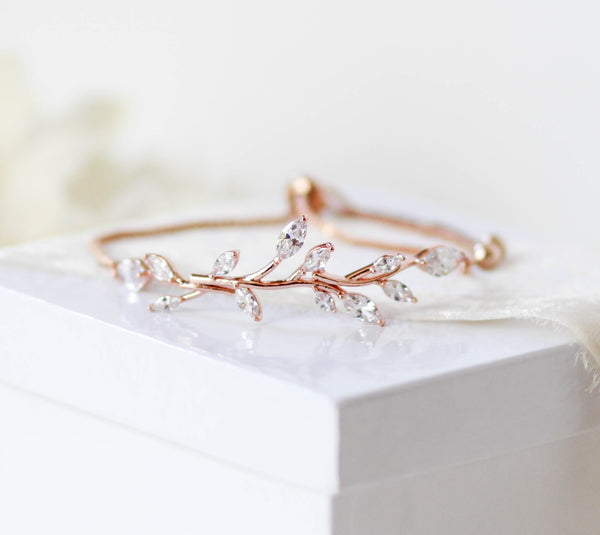 Delicate Rose gold Adjustable CZ Bridal bracelet - APRILLE - Treasures by Agnes