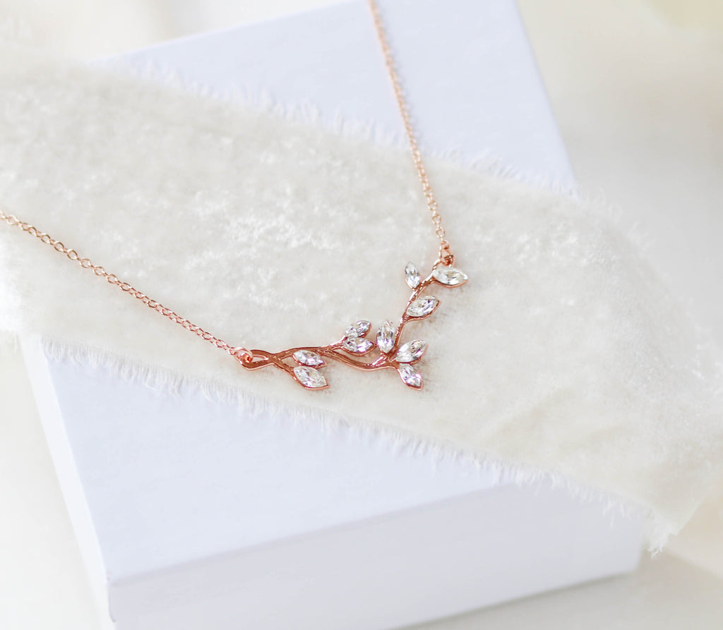 Delicate Rose gold Bridal or Bridesmaid necklace with Swarovski crystals - JOY - Treasures by Agnes