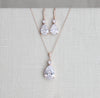 Delicate tear drop style necklace and earring set - BLAIR - Treasures by Agnes