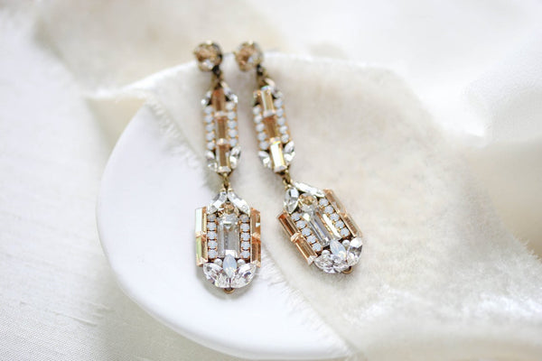 Long Art Deco Swarovski Crystal Bridal earrings - LYDIA