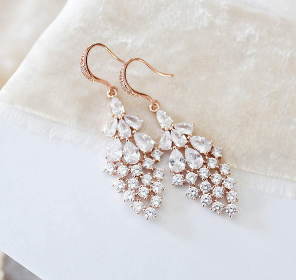 Rose gold CZ Drop Bridal earrings  - BEA - Treasures by Agnes