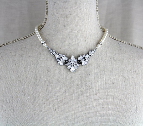 Vintage style Swarovski crystal and pearl Wedding necklace - Treasures by Agnes
