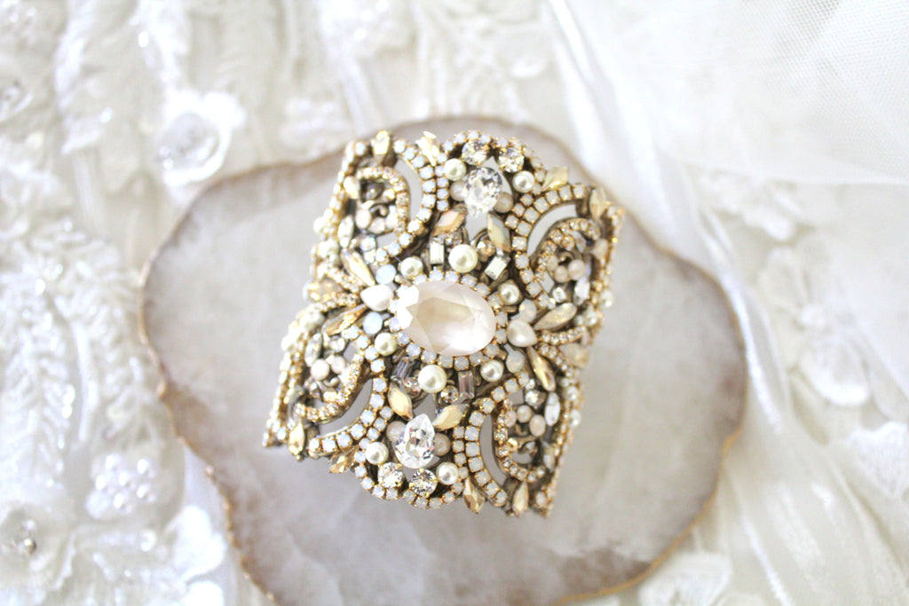Statement Wedding cuff bracelet with Swarovski crystals - Treasures by Agnes
