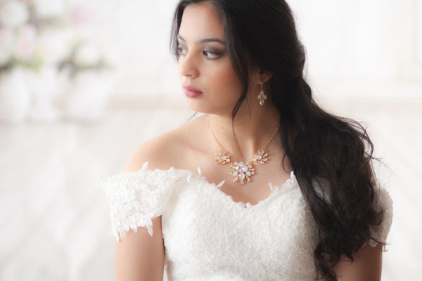 Gold Bridal Statement necklace with Swarovski crystals - LONDON - Treasures by Agnes